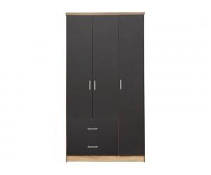 Гардероб HM340.04- с три врати и две чекмеджета - Сиво/Сонома