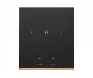 Гардероб HM353.04- с четири врати и две чекмеджета - Сиво/Сонома