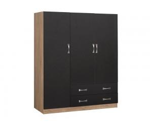 Гардероб HM384.04- с три врати и две чекмеджета - Сиво/Сонома