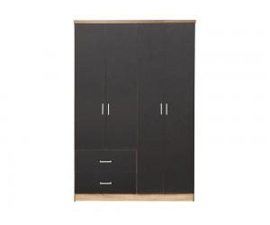 Гардероб HM339.04- с четири врати и две чекмеджета - Сиво/Сонома