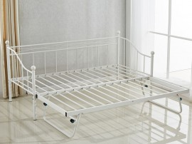 Метално легло-кушетка HM570.02 с допълнително легло отдолу Бяло