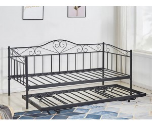 Метално легло-кушетка HM571.01 с допълнително легло отдолу Черно