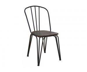 Метален стол с дървена седалка HM0600.22 - Черен
