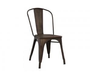 Метален стол с дървена седалка Melita HM0604.04 - Ръждив