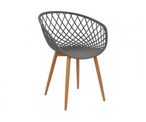 Комплект от 4 бр. трапезни столове Ariadne HM8001.10 - полипропилен в сиво