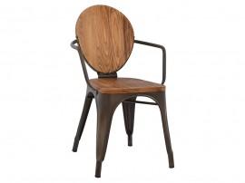 Метален стол Melita HM8053.04 с дървена седалка и облегалка - Ръждив