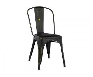 Метален стол с тапицирана седалка Melita HM8062.40 - Черен с патина ефект