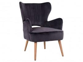 Кресло с дървени крака Mylie HM8394.01 - Сиво кадифе