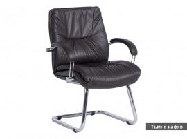 Посетителски офис стол Parma Lux с подлакътници Естествена кожа - Тъмно кафяв LUX