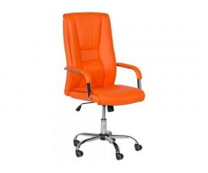 Президентски кожен офис стол Carmen 6500 с подлакътници - Оранжев