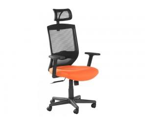Президентски офис стол Carmen 7518 с мрежа и подлакътници - Оранжев