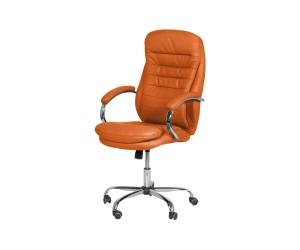 Президентски кожен офис стол Carmen 6113 с подлакътници - Оранжев
