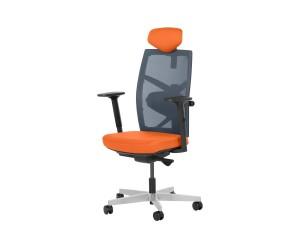 Ергономичен президентски офис стол FREDO с подлакътници и мрежа - Оранжев