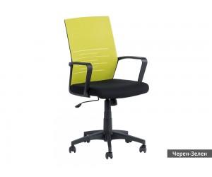 Работен офис стол Carmen 7041 с подлакътници и мрежа - Черен/ Зелен