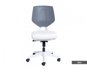 Кожен работен офис стол Smart без подлакътници - Бял AS