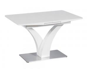 Трапезна маса LUBLIN, MDF, стъкло - разтегателна - бял