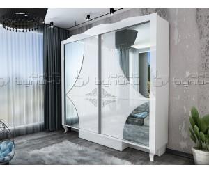 Гардероб от спален комплект Белисима - Бяло гланц/Бяло - 200 см.