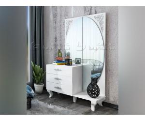 Скрин-тоалетка Белисима - Бяло гланц/Бяло - 100 см.
