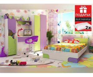Обзавеждане за детска стая Джой 120/190 - с включен матрак и подарък възглавници