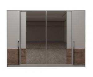 Модулен гардероб Калифорния- Конфигурация 6 - Бяло гланц/Антик/Бяло - 294 см.
