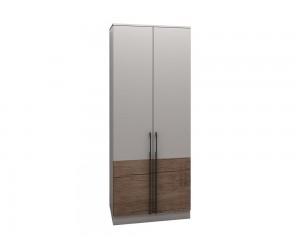 Двукрилен гардероб Калифорния МК2 - Бяло гланц/Антик/Бяло -  90 см.