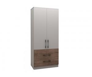 Двукрилен гардероб с чекмеджета Калифорния МК3 - Бяло гланц/Антик/Бяло -  90 см.