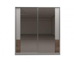 Гардероб с две плъзгащи врати и огледала Калифорния МК5 - Бяло гланц/Антик/Бяло - 200 см.