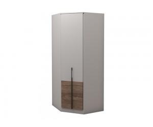 Ъглов гардероб с рафтове Калифорния МК6 - Бяло гланц/Антик/Бяло -  89*89 см.