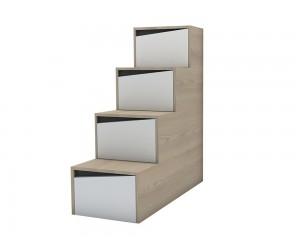 ПДЧ стъпала Марти М20 - за качване на легло горен етаж - Бяло гланц/Декорация/Кармен