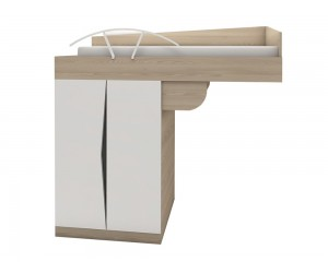 Легло горен етаж с двукрилен гардероб Марти М21 -  90/200 см. - Бяло гланц/Декорация/Кармен