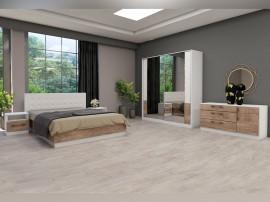 Спален комплект Калифорния- Конфигурация 2 - Бяло гланц/Антик/Бяло - 160/200 см.