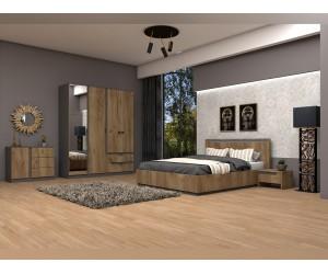 Спален комплект Фигаро - Графит/Дъб крафт табак - 160/200 см. - с LED осветление