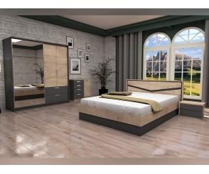 Спален комплект Виго 2 -Графит/Дъб елеганс  - 160/200 см. - с LED осветление