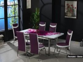 Комплект трапезна маса с 6 бр. столове Бетиз Лилав/Бял