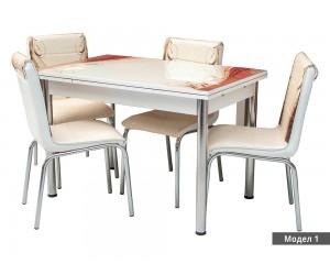 Комплект разтегателна трапезна маса с 4 бр. столове Еко