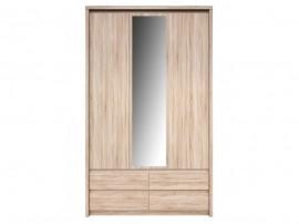 Гардероб NORTON SZF 3D4S с три врати, чекмеджета и огледало - дъб сонома