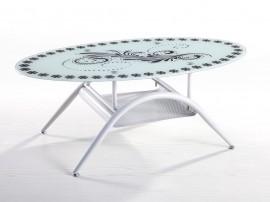 Дизайнерска холна маса MIA - метал бял, стъкло