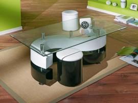 Дизайнерска холна маса SERENA H60 с табуретки - MDF бял/черен