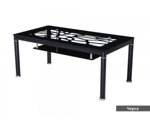 Холна маса KAJA - алуминий, стъкло - бял, черен