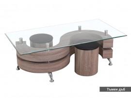 Дизайнерска холна маса NINA II с табуретки - MDF тъмен дъб, венге, стъкло