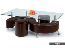 Дизайнерска холна маса NINA III с табуретки - еко кожа, бял, черен, кафяв, стъкло