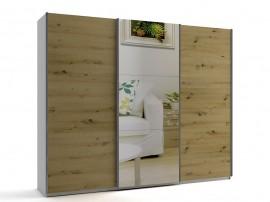 Голям гардероб с три плъзгащи врати и огледало МОД 10 - Артизан светъл - 270 см.