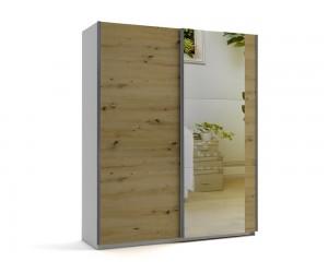 Малък гардероб с две плъзгащи врати и огледала МОД 6 - Артизан светъл - 180 см.
