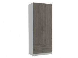 Двукрилен гардероб с две чекмеджета МОД 3 - Дъб Давос Трюфел - 90 см.