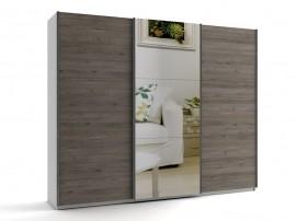 Голям гардероб с три плъзгащи врати и огледало МОД 10 - Дъб Давос Трюфел - 270 см.