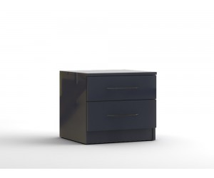 Нощно шкафче с две чекмеджета МОД 13 - МДФ Антрацит гланц - 50 см.