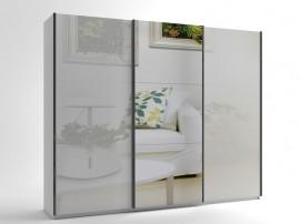 Голям гардероб с три плъзгащи врати и огледало МОД 10 - МДФ Бял гланц - 270 см.