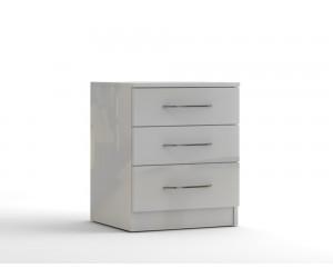 Нощно шкафче с три чекмеджета МОД 12 - МДФ Бял гланц - 50 см.
