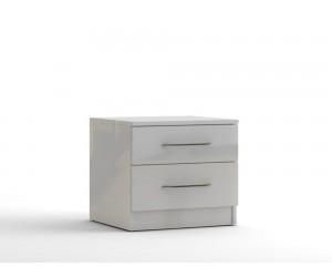Нощно шкафче с две чекмеджета МОД 13 - МДФ Бял гланц - 50 см.