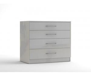Скрин с четири чекмеджета МОД 14 - МДФ Бял гланц - 90 см.